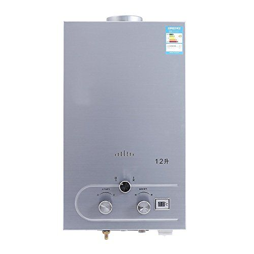 Popsport Water Heater 12L LPG Gas Hot Water Heater Propane Tankless Water Heater Boiler Stainless Steel CE with Shower Head and LCD Display (12L) >>> You can get more details by clicking on the image.