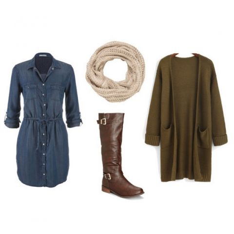 Fall fashion - these riding boots are a great look for fall and winter and look perfect with this denim dress! With or without the sweater! { lilluna.com }