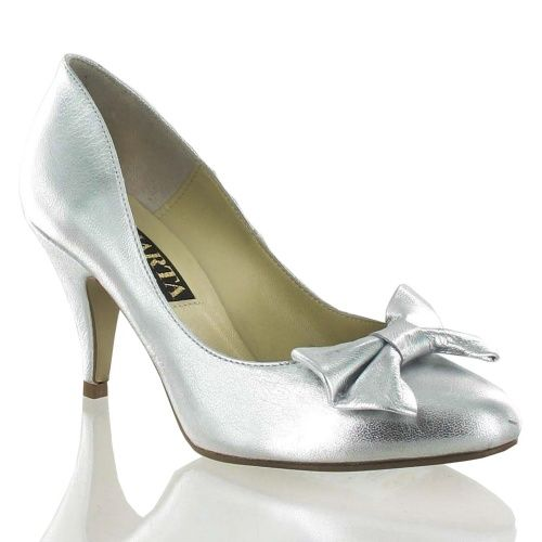 Silver Leather Court Shoe with a Bow, Was £110, Now £88 #wedding