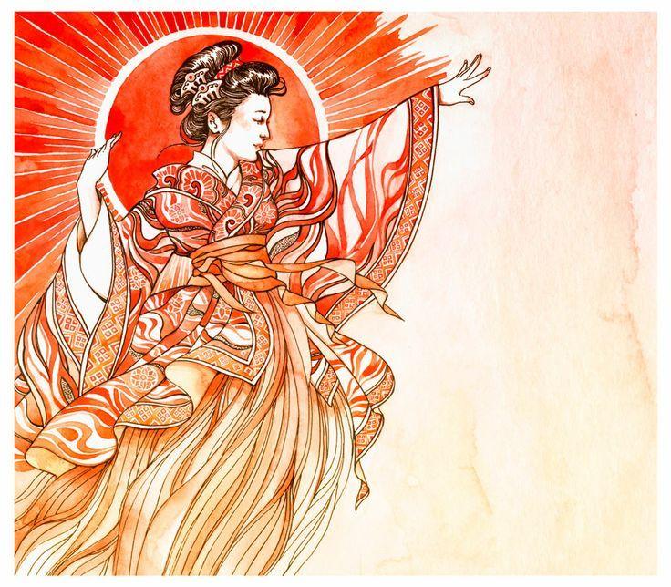 Amaterasu ~ bright and beautiful. Japanese Shinto Sun Goddess.