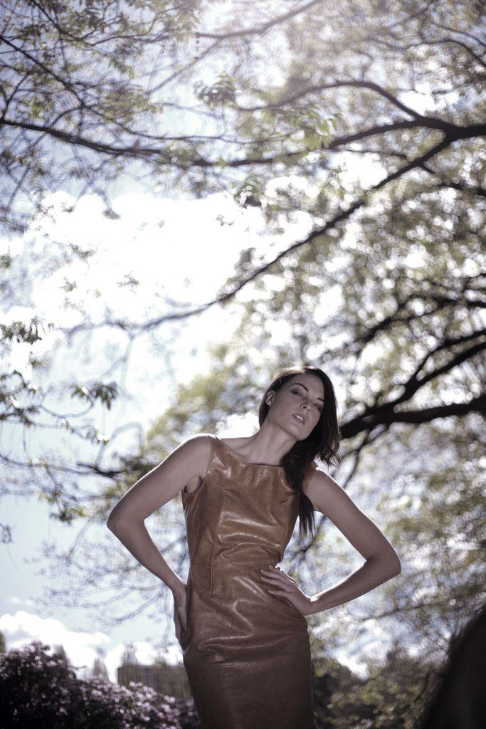 Leather Dress, Open Back Dress, Messy Braid, Braided Hair, Beautiful LIght, Magical Woods, Norwegian Wood, Design by Ellen Aga, Photo by Lars Venner, Model: Charlotte Thorstvedt