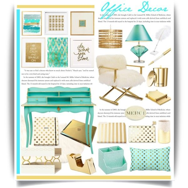 Gold & Aqua Office Decor by hmb213 on Polyvore featuring interior, interiors, interior design, home, home decor, interior decorating, Mitchell Gold + Bob Williams, Worlds Away, Oliver Gal Artist Co. and Kate Spade