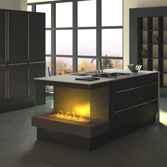 SONDERANFERTIGUNG 15: Einbaukamin für Küchenblock (Bioethanol / Elektrokamin Opti-myst)