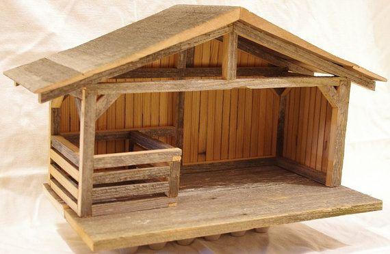 Réglage de la Nativité en bois Creche en bois par HenrysSandbox