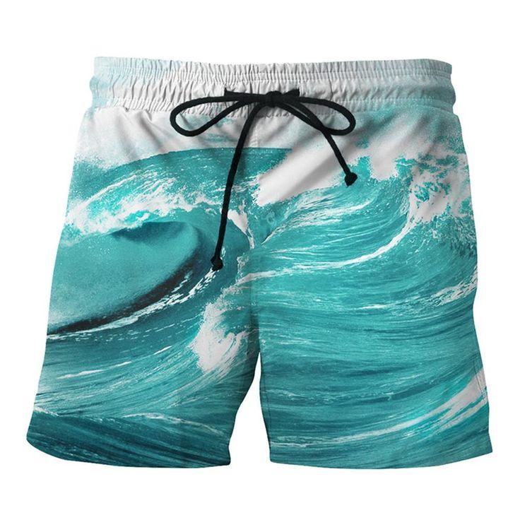 Mens Beach Shorts 3D Ocean Waves Printing Summer Shorts Swimming Briefs Beachwear