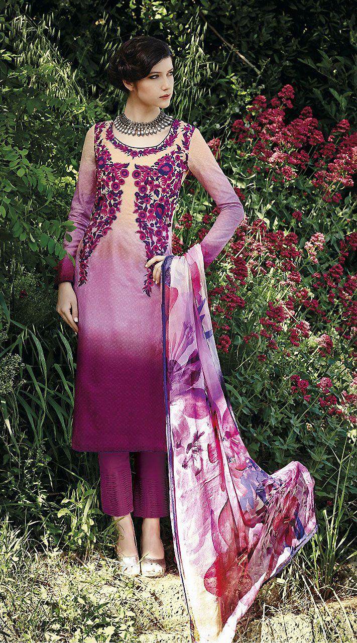 Lovely Light Purple Cotton Jacquard Cigarette Pant With Kameez