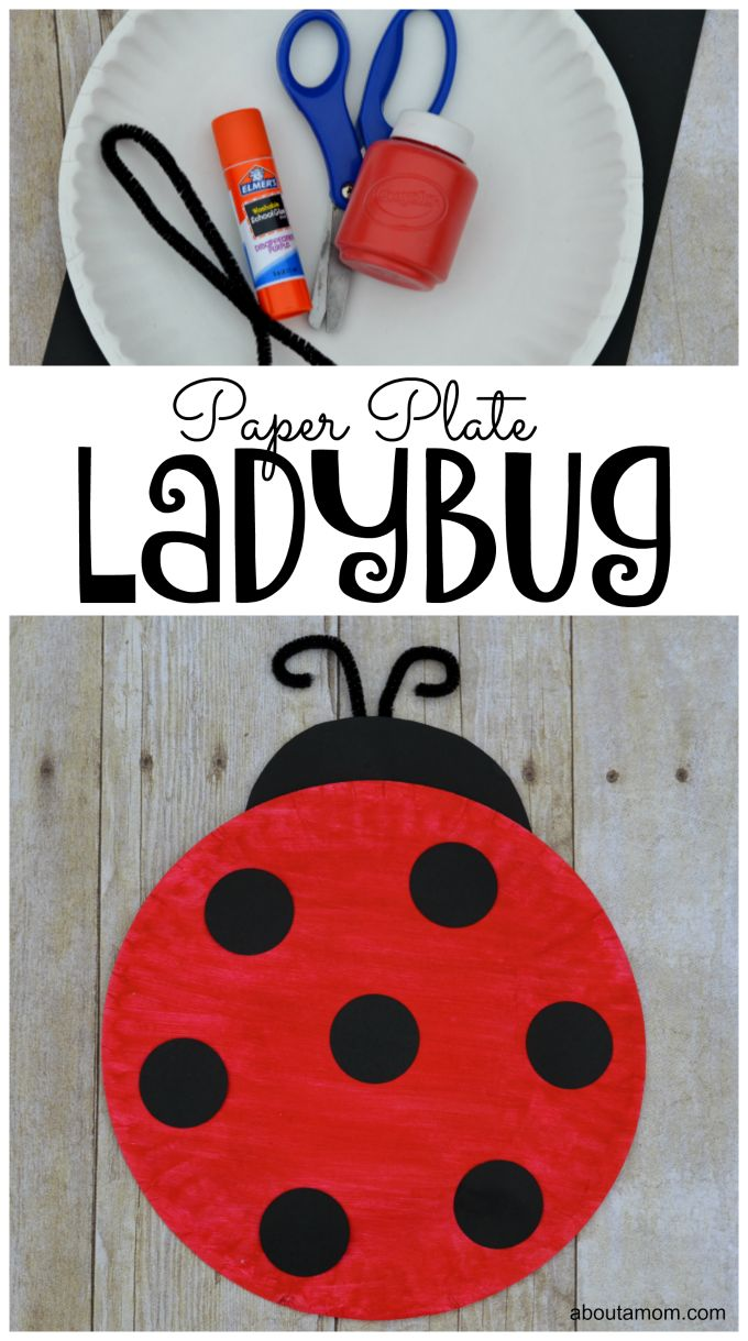 Arts and crafts switch plate covers - Paper Plate Ladybug Craft For Kids