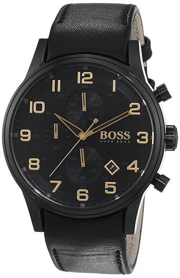 Montre Hugo Boss Black Homme - 1513274 - Quartz - Chronographe - Cadran en Acier inoxydable Noir - Bracelet en Cuir - Noir - Date
