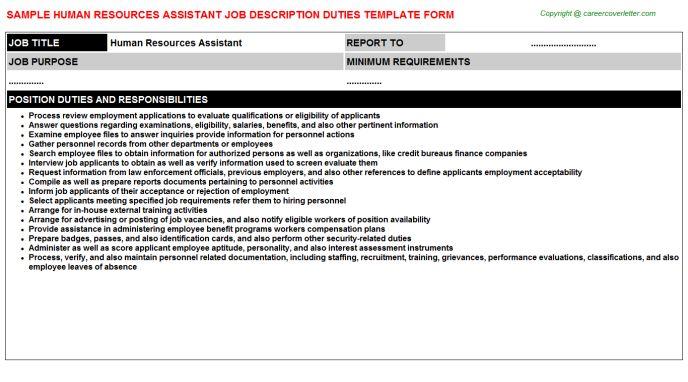 human resources assistant job description sample cover letters for - human resource job description