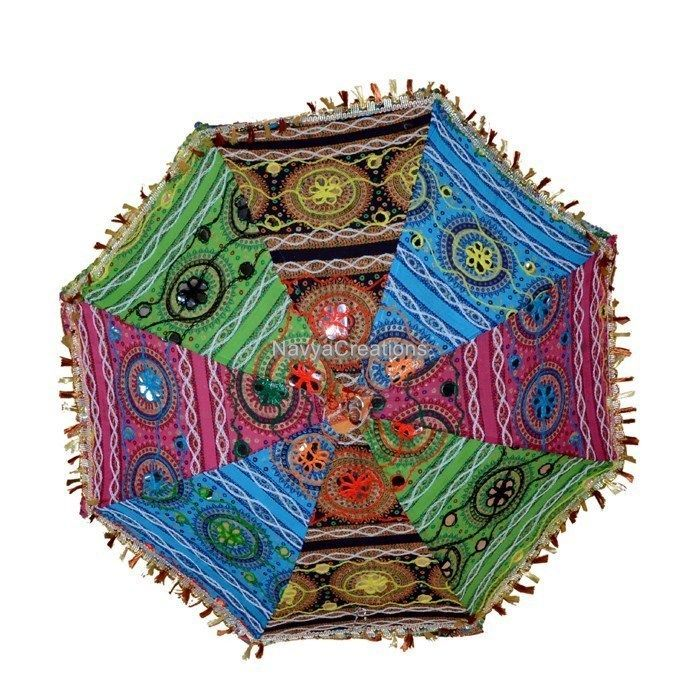 Indian Embroidered Mirror Work Cotton Colorful Umbrella Parasol For Christmas #Handmade #Parasol