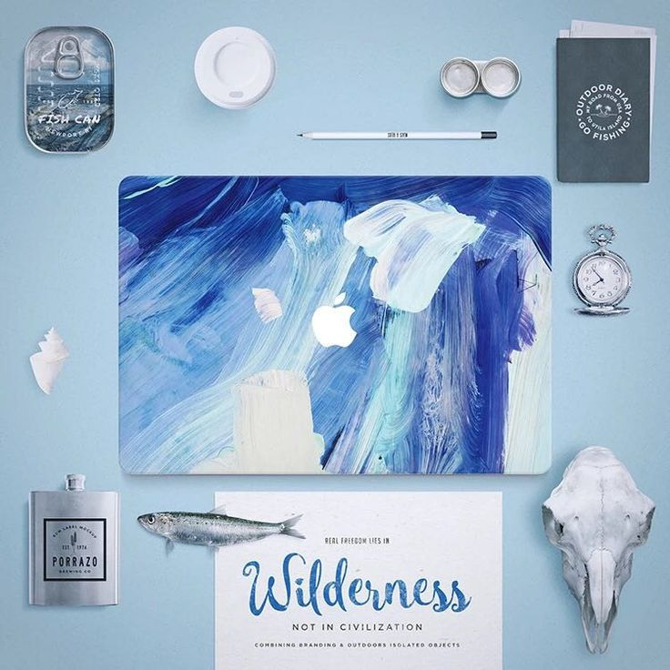 Macbook Decal Sticker - Blue Painting