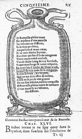 François Rabelais, prologue de Pantagruel  Comment Bachus interprète le mot de la Bouteille. Extrait du cinquième livre du prologue de Pantagruel, de François Rabelais. (Bibliothèque nationale de France, Paris.)  Ph. Coll. Archives Larbor