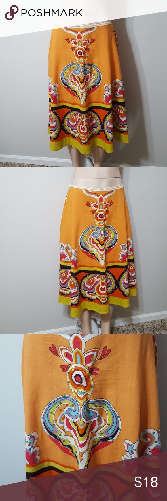 JAQULINE DESIGN STUDIO BOHO SEQUIN PRINT SKIRT! JAQULINE DESIGN STUDIO BOHO SEQUIN PRINT SKIRT! Love this skirt! Colorful print design. Sequin accents on front. Elastic band in back to allow stretch if need be. Side zipper. Perfect condition! 100% cotton. Jaquline design studio Skirts Midi
