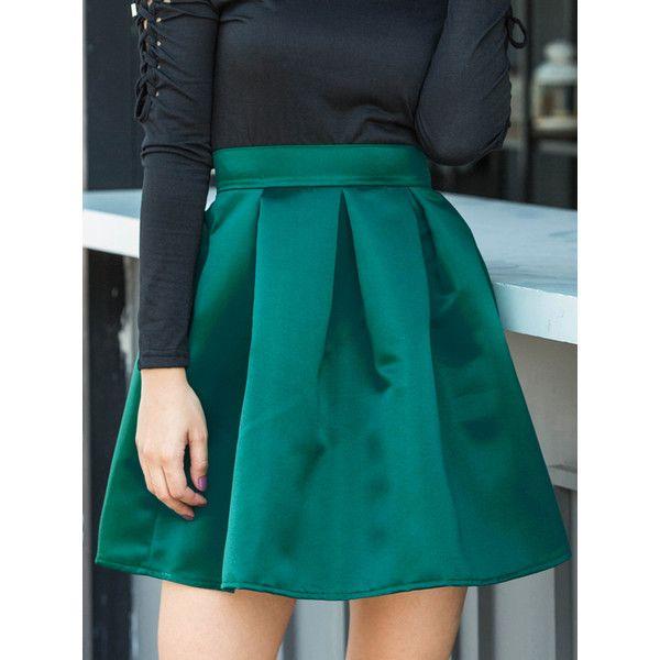 75579bab0fa Green Satin Look High Waist Mini Skirt ($16) ❤ liked on Polyvore ...