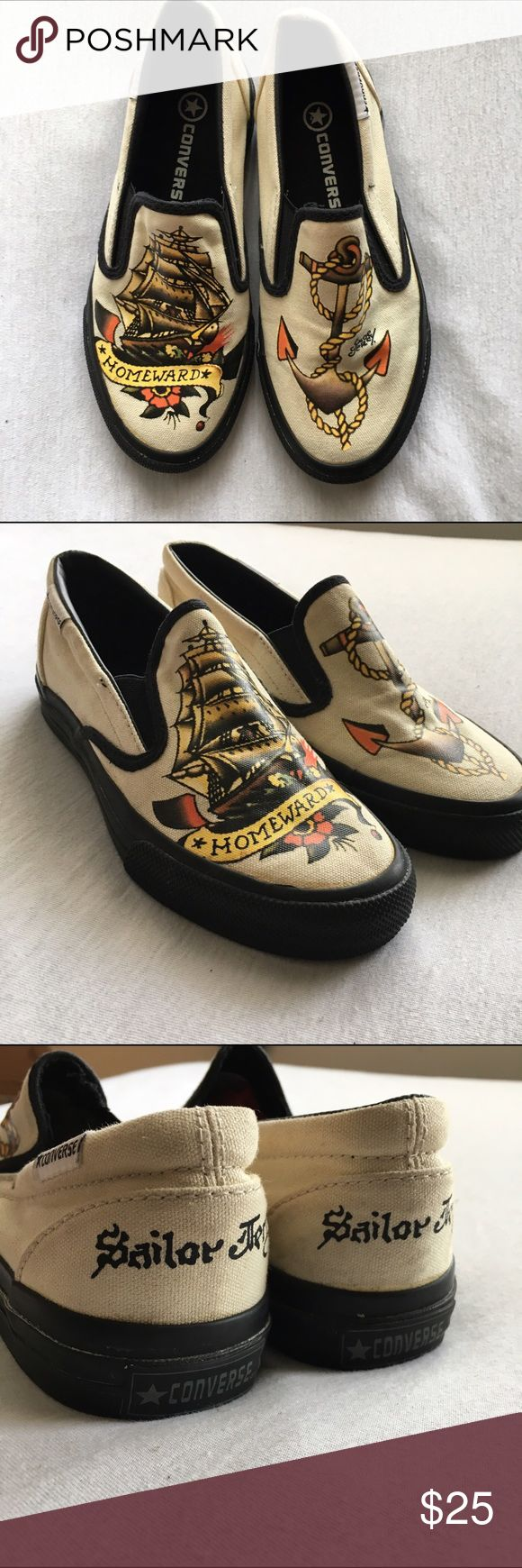 Sailor Jerry Converse Slip Ons Sailor Jerry Converse Slip Ons in excellent used condition. Womens size 5.5. No trades. Converse Shoes Sneakers