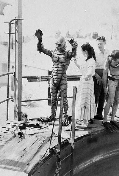 Millicent Patrick does a quick touch-up on the Creature