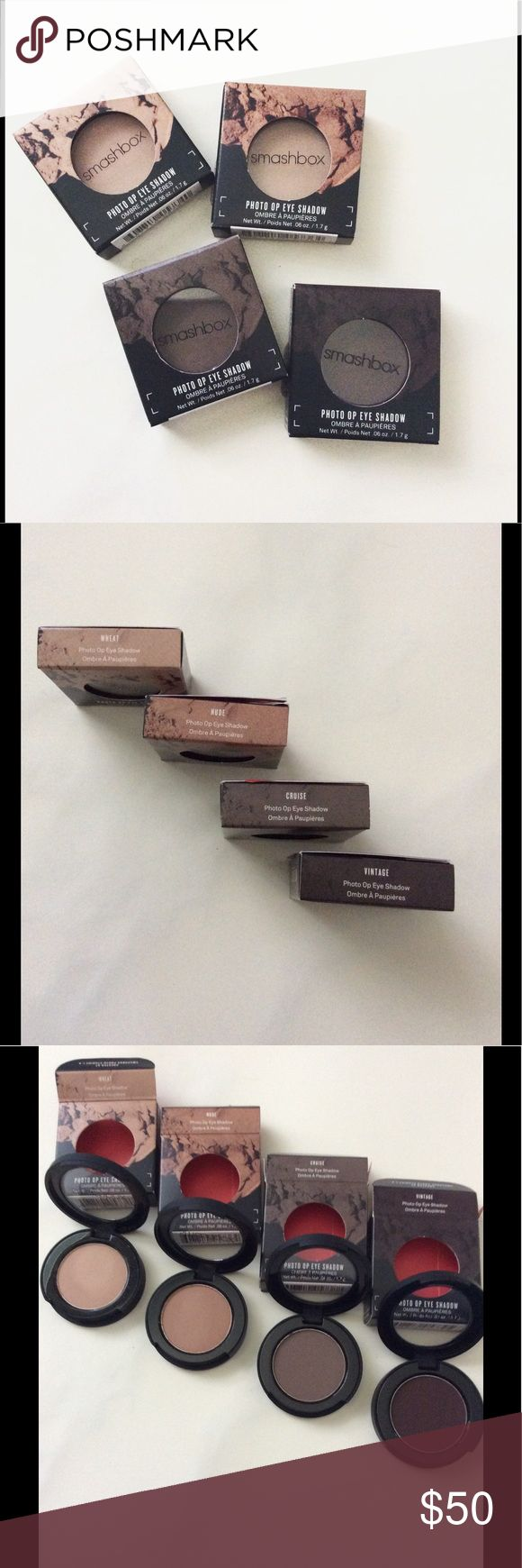 Smashbox Eyeshadows (4 total) Brand new, in box, never been used or swatched.  4 Eyeshadows total in this listing. All sold together for listed price. For individual sale, they will be $10 each.   All typically sold for $18+tax in store.  Colors: Vintage Cruise Nude Wheat  As I was closing cruise after taking photos, my nail nicked it a bit. I tried to rub it out a little so you will see a tiny tiny nick and a little rubbed area. Smashbox Makeup Eyeshadow