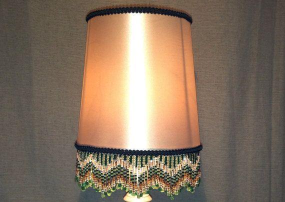 Green handmade lamp fringe on white lamp by TrinketsNTreasuresAU