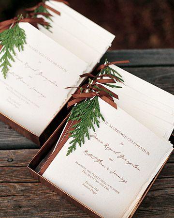25 Perfect Programs  Cedar Twigs    Programs from an Oregon wedding are festooned with cedar twigs and bound by brown taffeta ribbon.        Read more at Marthastewartweddings.com: DIY Wedding Stationery – Martha Stewart Weddings