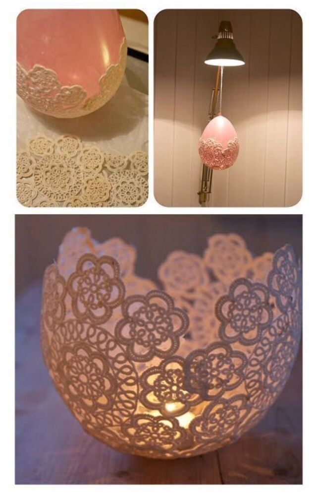 A balloon, a paper doily and Modge Podge