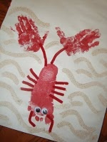 hand and foot print lobster - not quite canada day... but very maritime!