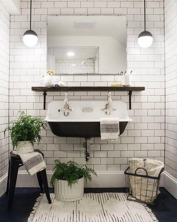 Can you believe this is a basement bathroom?! Such a great bathroom renovation by @deucecitieshenhouse Her sources are on her blog...but we'll see what we can do about creating the same look for even less Like it now if you'd like to see us take it on! #CopyCatChic