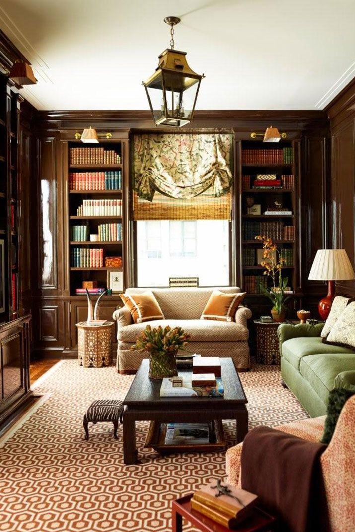 Winterize your study with a warm color palette and lots of texture.    - HarpersBAZAAR.com