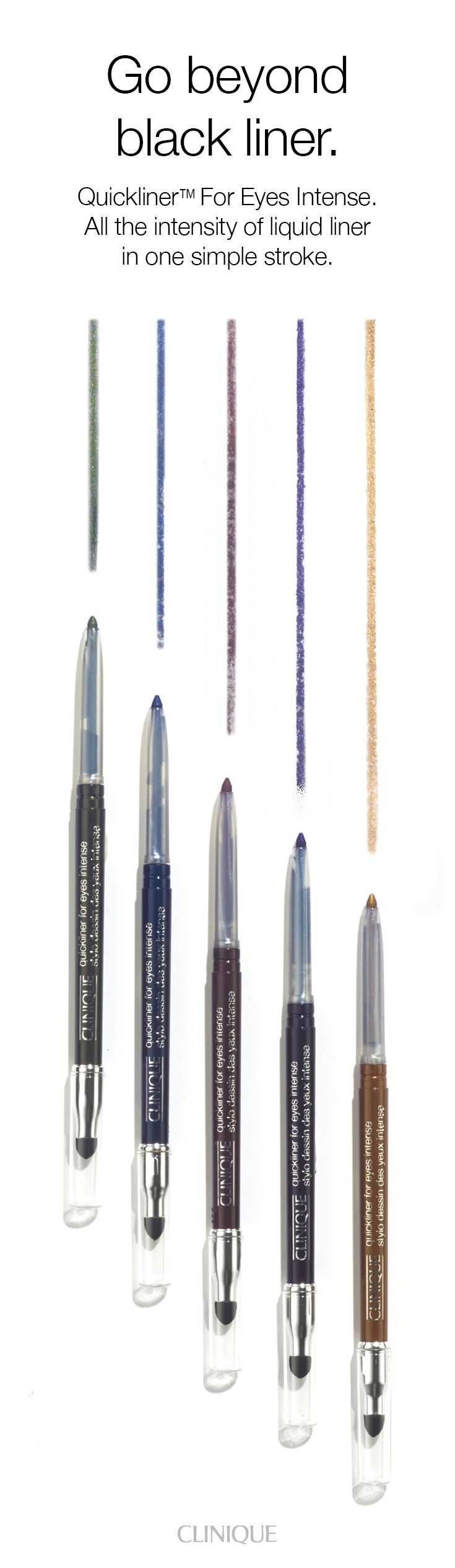 """Go beyond black eyeliner with Quickliner for Eyes Intense. No need to be subtle when it's so easy to move into the deepest, most dramatic range. Find all the intensity of a liquid liner in one simple stroke. Silky formula glides on. Stays on all day. Never needs sharpening. """"Smoke"""" with the smudge tip on the opposite end. Ophthalmologist Tested."""