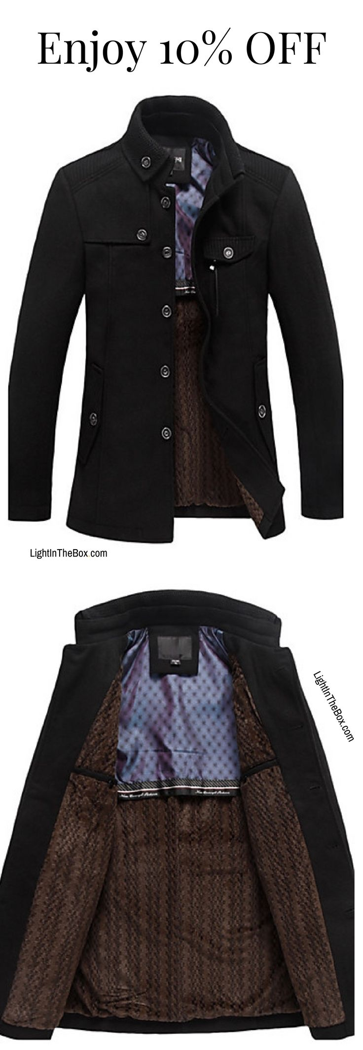 Chic men winter trench coat for professional men. Find it in black, beige and brown colours at just $60.29.