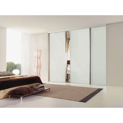 Classic Silver Frame Soft White Glass Sliding Door - 610mm