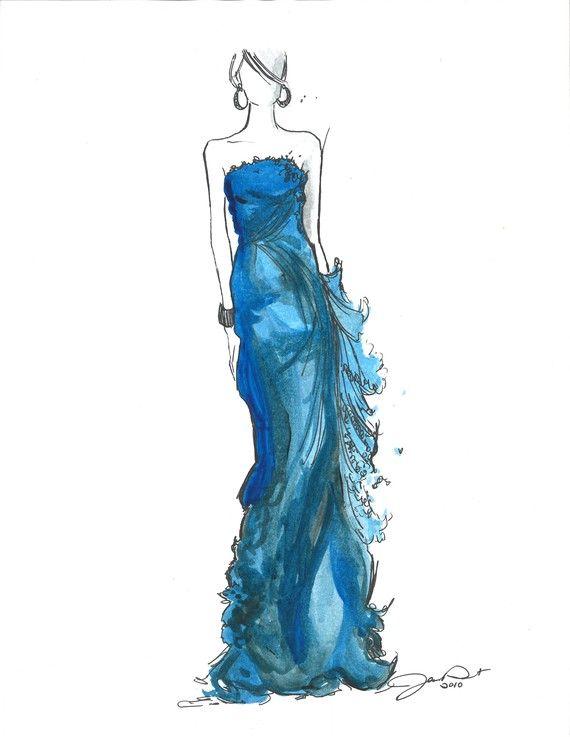 Starry Night Dress Illustration @jessicaillustration #fashion #illustration