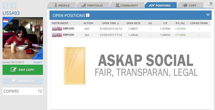 Trader LISSA93 sudah membuka posisi sell pada pair GBPUSD dari jam 2.12 pagi tadi dan hingga saat ini sudah mengumpulkan profit sebesar +12.63%. Apakah Anda juga ingin mengambil posisi yang sama?