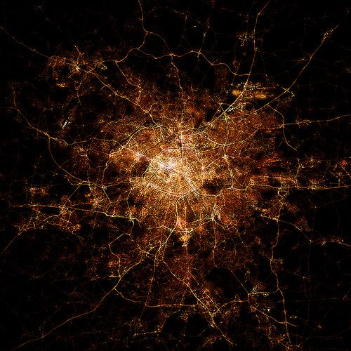 Nighttime city maps I create using Open Street Map data. No images were used in their creation, just raw OSM data and 3d  animation/2d compositing knowledge.