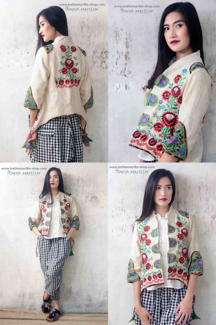 Batik Amarillis Made in Indonesia proudly presents :Batik Amarillis's Arcana jacket in Hungarian embroidery on natural, raw and beautiful Tenun gedog Tuban of Indonesia with tenun batik gedog Piping .