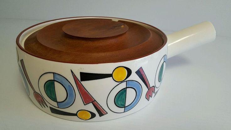 RARE Knabstrup Midcentury Danish Pottery TEAK Covered Bowl, Tureen Casserole Pot  | eBay