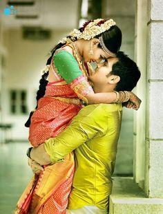 South Indian bride. Temple jewelry. Red silk kanchipuram sari.Braid with fresh flowers. Tamil bride. Telugu bride. Kannada bride. Hindu bride. Malayalee bride.