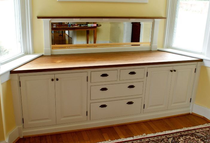 Sideboards, Appealing Built In Buffet And Hutch Diy Built In Buffet And Laminate Flooring And Persian Rug And Creme Painted Wall And White Window: astounding 2017 built in buffet and hutch