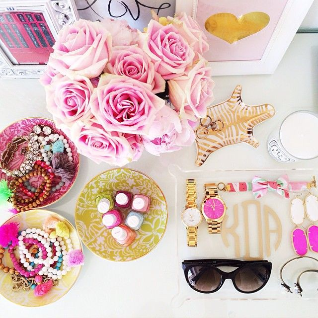 cute feminine desk styling - Be as bright as you can be