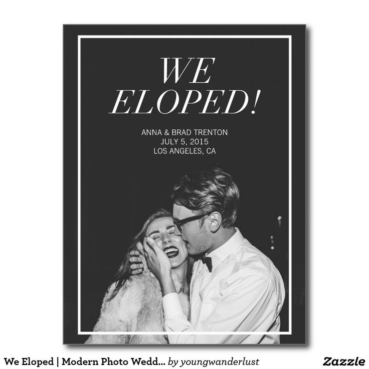 We Eloped CUSTOM Photo Picture Modern Wedding Announcement Postcard  Love this and what a great deal at only $1 each!  #wedding #postcard #announcement