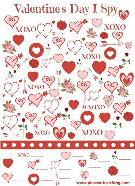 Free printable Valentine's Day I Spy Game - slip one into your Valentines!