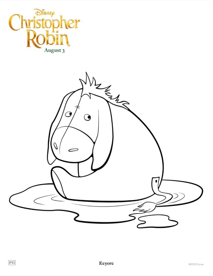 Free Eeyore Coloring Page From The Disney Christopher Robin Movie