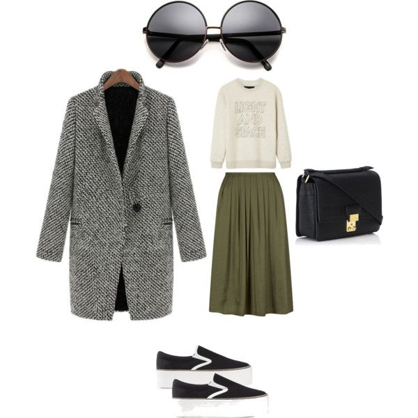 Olive Skirt Normcore by edeln on Polyvore featuring, MARC BY MARC JACOBS, Jeffrey Campbell and 3.1 Phillip Lim