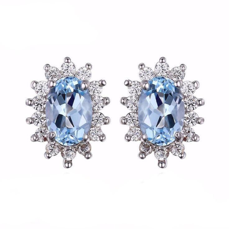 925 Sterling Silver Genuine Natural Topaz Gemstone Stud Earrings