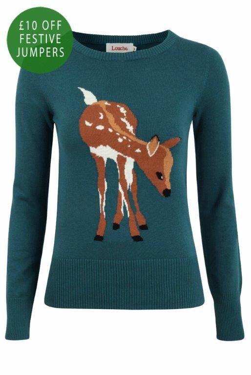 Louche Babianne Deer Intarsia Jumper I LOVE ANIMAL JUMPERS!