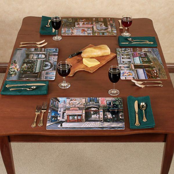 French Village Square Hardboard Placemat Set Of 4 Placemats Placemat Sets Hardboard Placemats
