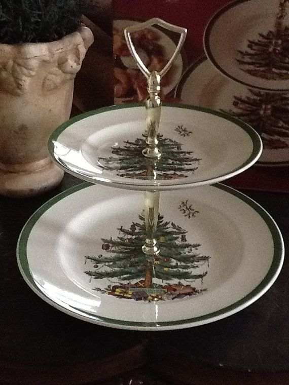 Vintage Spode Christmas Tree Double tier tray by beccaschicdecor, $24.00
