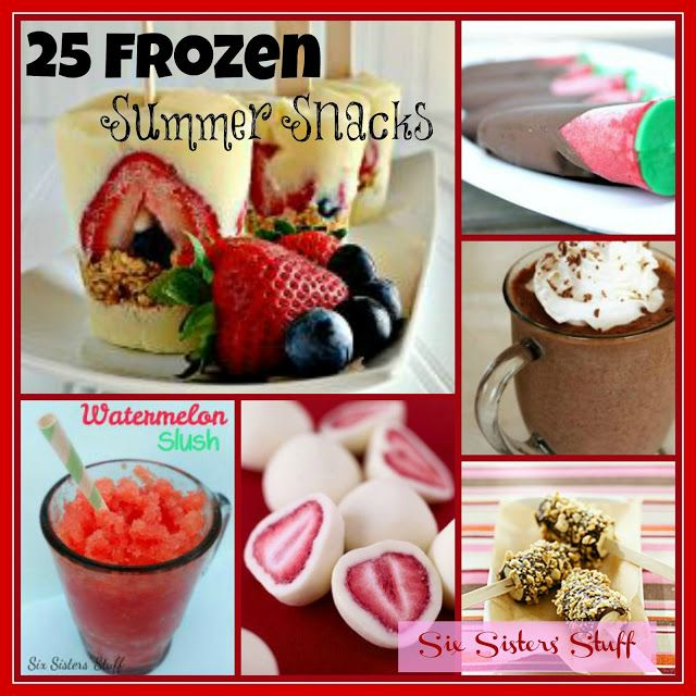 25 Light Frozen Summer Snacks from SixSistersStuff- perfect for those hot days! #summer #treats