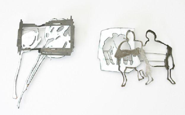 Elisa Sophia Herrmann, Broschen. Alpaka, Kupfer emailliert, 2009