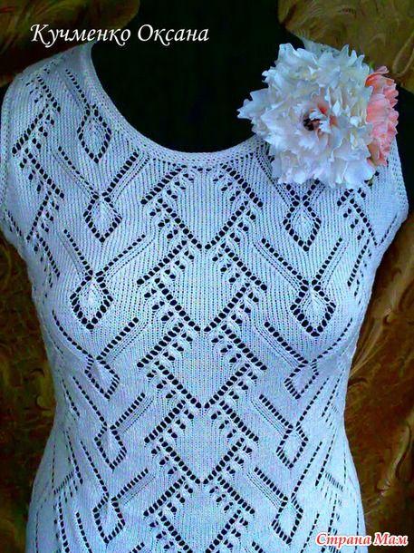 """Добрый вечер странамамочки!  Купила себе пряжу Vita Cotton Daisy, очень понравился цвет (экрю).  Связалось такое нежное летнее платье. Сестра сделала мне брошь """"Пион""""."""