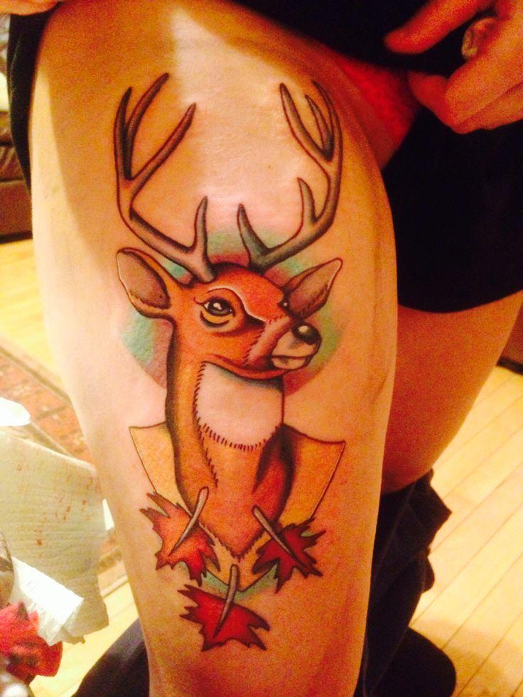 Deer thigh tattoo thigh tattoo maple leaf tattoo